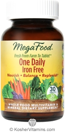 MegaFood Kosher One Daily Iron Free Whole Food Multivitamin & Mineral 30 Tablets