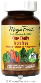 MegaFood Kosher One Daily Iron Free Whole Food Multivitamin & Mineral 60 Tablets