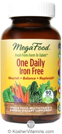 MegaFood Kosher One Daily Iron Free Whole Food Multivitamin & Mineral 90 Tablets