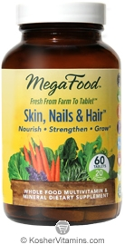 MegaFood Kosher Skin, Nails & Hair  60 Tablets