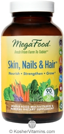 MegaFood Kosher Skin, Nails & Hair  90 Tablets