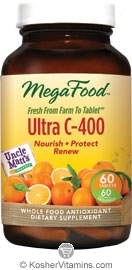 MegaFood Kosher Ultra C-400 mg with Uncle Matt's Organic Oranges 60 Tablets