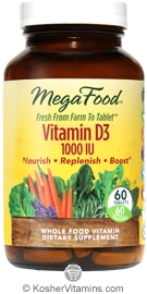 MegaFood Kosher Vitamin D3 1000 IU  60 Tablets