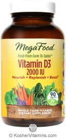MegaFood Kosher Vitamin D3 2000 IU  90 Tablets