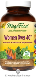 MegaFood Women Over 40 California Blend Whole Food Multivitamin & Mineral Vegetarian Suitable Not Certified Kosher  90 Tablets