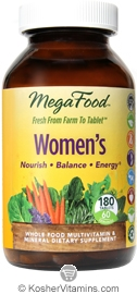 MegaFood Kosher Women's Whole Food Multivitamin & Mineral  180 Tablets
