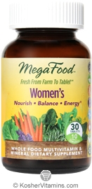 MegaFood Kosher Women's Whole Food Multivitamin & Mineral  30 Tablets