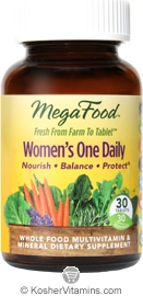 MegaFood Kosher Women's One Daily Whole Food Multivitamin & Mineral 30 Tablets