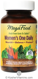 MegaFood Kosher Women's One Daily Whole Food Multivitamin & Mineral 60 Tablets