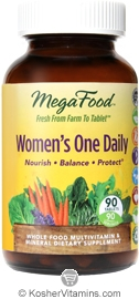 MegaFood Kosher Women's One Daily Whole Food Multivitamin & Mineral 90 Tablets