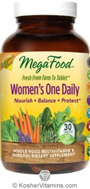 MegaFood Kosher Women's One Daily California Blend Whole Food Multivitamin & Mineral 30 Tablets