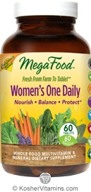 MegaFood Kosher Women's One Daily California Blend Whole Food Multivitamin & Mineral 60 Tablets