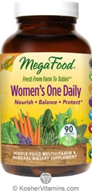 MegaFood Kosher Women's One Daily California Blend Whole Food Multivitamin & Mineral 90 Tablets