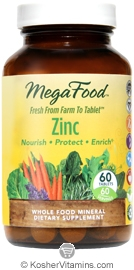 MegaFood Kosher Zinc Whole Food Mineral 60 Tablets