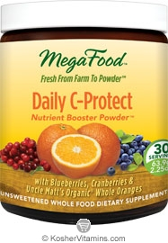 MegaFood Kosher Daily C-Protect (Vitamin C) Booster Powder (with Blueberries, Cranberries & Uncle Matt's Organic Whole Oranges) 2.25 OZ
