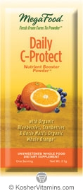 MegaFood Kosher Daily C-Protect (Vitamin C) Booster Powder (with Blueberries, Cranberries & Uncle Matt's Organic Whole Oranges) 30 Packets