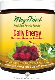 MegaFood Kosher Daily Energy Booster Powder (with Beets, Green Tea, Ginseng Root & B12) 1.86 OZ