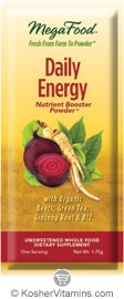 MegaFood Kosher Daily Energy Booster Powder (with Beets, Green Tea, Ginseng Root & B12) 30 Packets