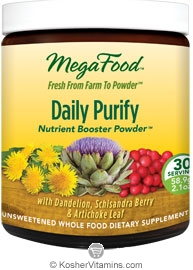 MegaFood Kosher Daily Purify Booster Powder (with Dandelion, Schisandra Berry & Artichoke Leaf)  2.1 OZ