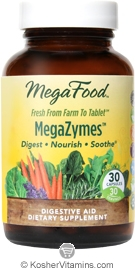 MegaFood Megazymes Digestive Aid Vegetarian Suitable Not Certified Kosher 30 Capsules