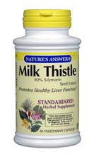 Natures Answer Standardized Milk Thistle Seed Extract Vegetarian Suitable not Certified Kosher 60 Vegicaps