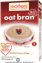 Mother's Kosher All Natural Oat Bran Creamy Hot Cereal 16 OZ