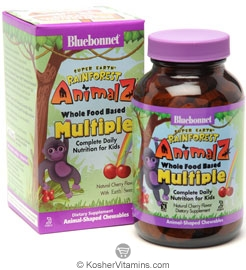 Bluebonnet Kosher Super Earth Rainforest Animalz Whole Food Based Multiple Chewable Cherry Flavor 180 Chewables