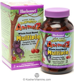 Bluebonnet Kosher Super Earth Rainforest Animalz Whole Food Based Multiple Chewable Cherry Flavor 90 Chewables