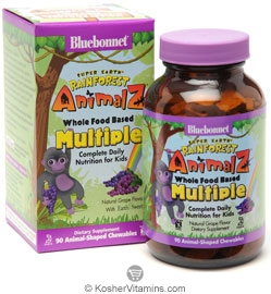 Bluebonnet Kosher Super Earth Rainforest Animalz Whole Food Based Multiple Chewable Grape Flavor 90 Chewables