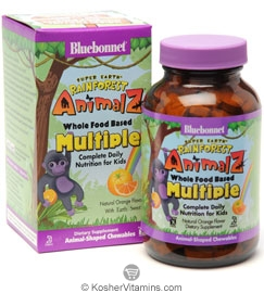 Bluebonnet Kosher Super Earth Rainforest Animalz Whole Food Based Multiple Chewable Orange Flavor 180 Chewables