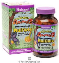 Bluebonnet Kosher Super Earth Rainforest Animalz Whole Food Based Multiple Chewable Orange Flavor 90 Chewables