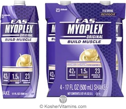 EAS Kosher Myoplex Original Protein Ready to Drink Cookies & Cream Dairy Case of 12 17 OZ