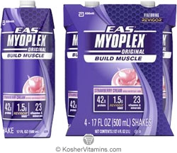 EAS Kosher Myoplex Original Ready to Drink Strawberry Cream Dairy Case of 12 17 OZ