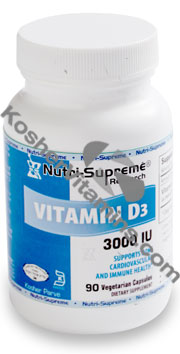 Nutri-Supreme Research Kosher Vitamin D3 3000 IU 90 Vegetarian Capsules