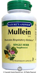 Natures Answer Kosher Mullein Leaf 90 Vegetarian Capsules