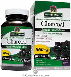 Natures Answer Charcoal 560 Mg Vegetarian Suitable Not Certified Kosher 90 Vegetarian Capsules