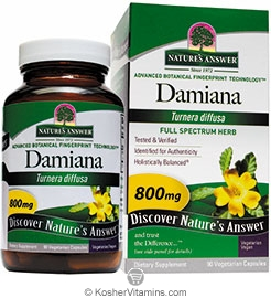Natures Answer Kosher Damiana 800 Mg 90 Vegetarian Capsules