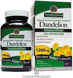 Natures Answer Kosher Dandelion 1,260 Mg 90 Vegetarian Capsules
