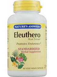 Natures Answer Standardized Eleuthero Root Extract (Formerly Siberian Ginseng) Vegetarian Suitable not Certified Kosher 60 Vegetable Capsules