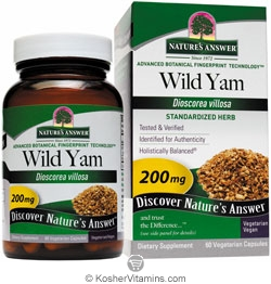 Natures Answer Standardized Wild Yam 200 Mg Vegetarian Suitable not Certified Kosher 60 Vegetarian Capsules