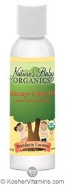 Nature's Baby Organics Kosher Baby Oil Mandarin Coconut 4 OZ