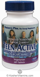 Nature`s Plus Teen-Active Tablets Vegetarian Suitable Not Certified Kosher 60 Tablets