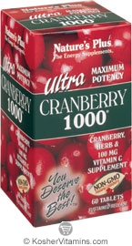 Nature`s Plus Ultra Cranberry 1000 mg. Vegetarian Suitable Not Certified Kosher 60 Tablets