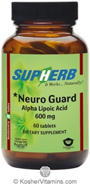 SupHerb Kosher Neuro Guard Alpha Lipoic Acid 600 Mg 60 Tablets