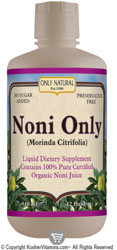 Only Natural Kosher Noni Only Juice 100% Pure Organic 32 OZ