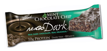 NuGo Nutrition Kosher Dark 10g Protein Bar Mint Chocolate Chip Parve 12 Bars