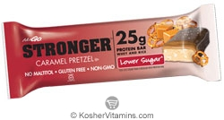 NuGo Nutrition Kosher Stronger 25g Whey & Rice Protein Bar Lower Sugar Caramel Pretzel Dairy 12 Bars