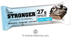 NuGo Nutrition Kosher Stronger 27g Whey & Rice Protein Bar Lower Sugar Cookies 'N Cream Dairy 12 Bars