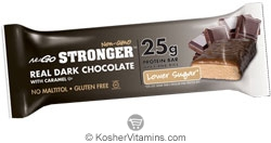 NuGo Nutrition Kosher Stronger 25g Whey & Rice Protein Bar Lower Sugar Dark Chocolate with Caramel Dairy 12 Bars