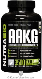NutraBio Kosher AAKG L-Arginine 3500 Mg 300 Vegetable Capsules